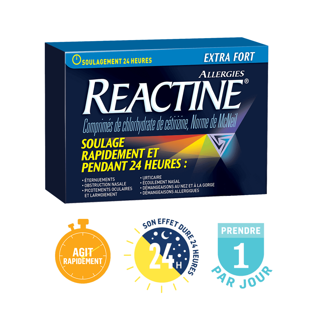 Reactine Extra Fort soulage rapidement et pendant 24 heures