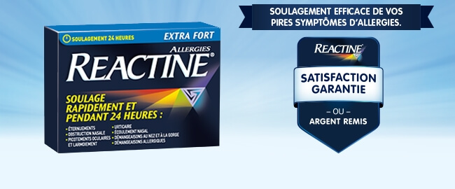 Reactine satisfaction garantie our argent remis