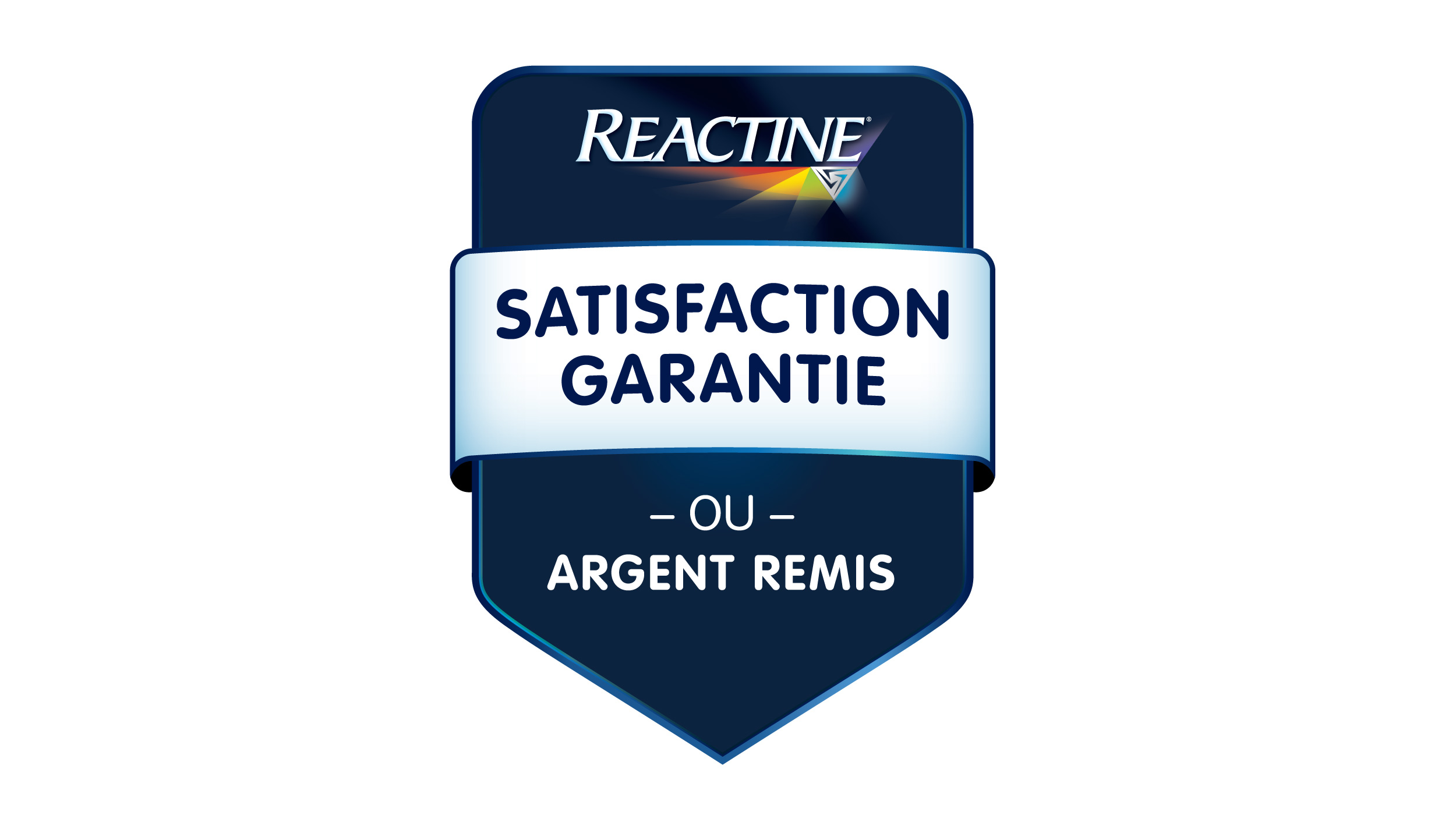 Reactine satisfaction garantie our argent remis logo